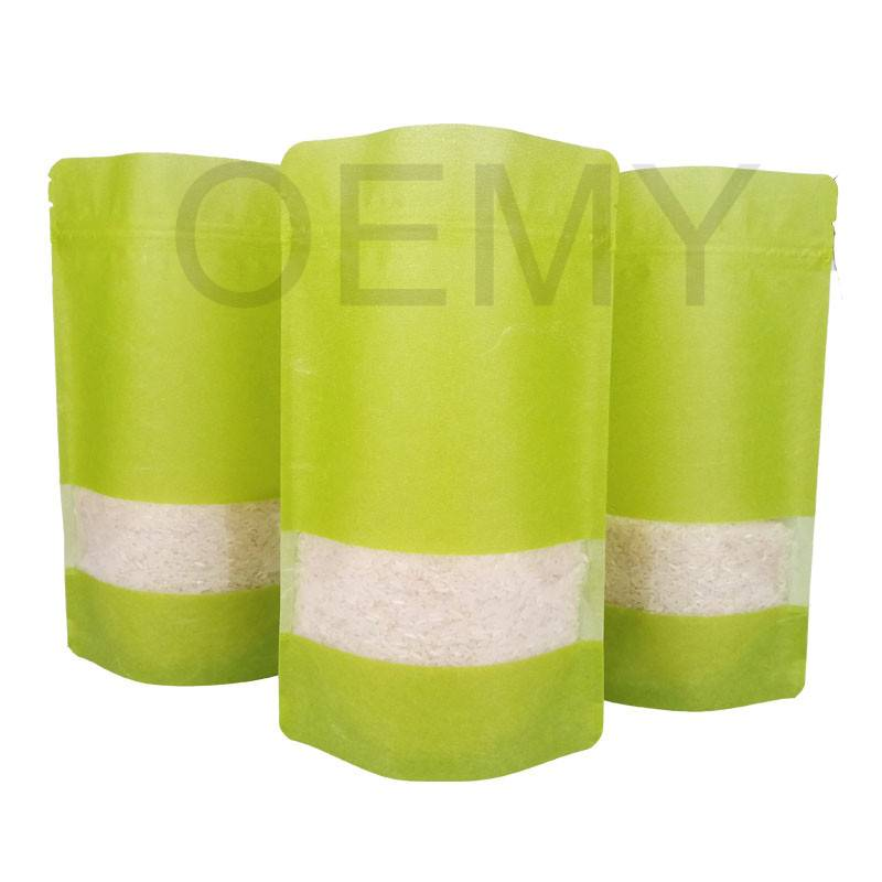 Fully green color printing cloud dragon paper stand up pouches with transparent window Featured Image