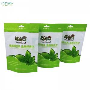 Environmental friendly stand up pouch dried food packaging bags with PLA zipper