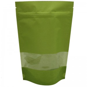 Stand up craft paper rice packaging bags with window