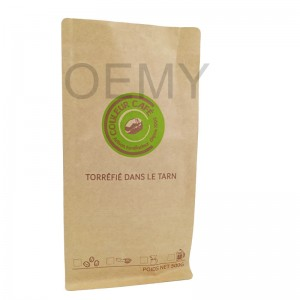 New biodegradable material square bottom packaging bags for coffee bean packing.