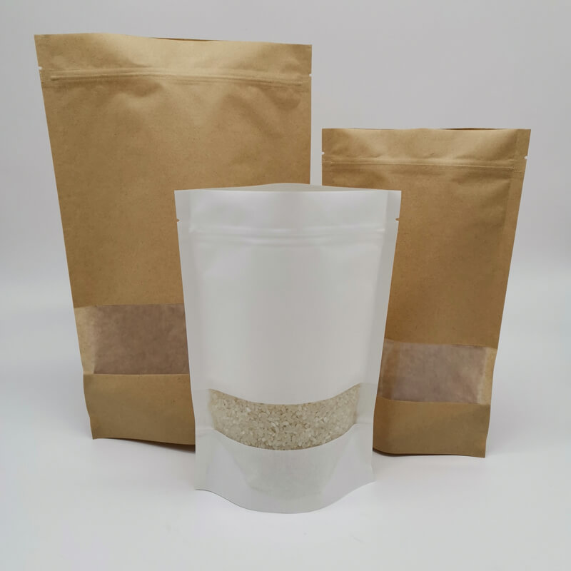 Stand up white craft paper rice packaging bags with window Featured Image