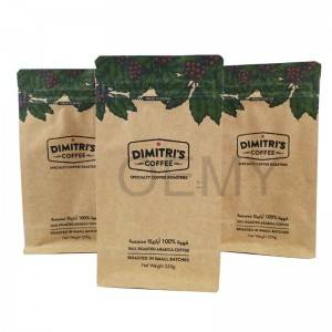 OEM square bottom brown kraft paper coffee powder packaging bags