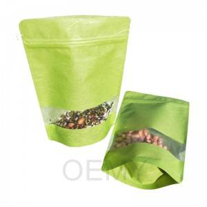 Pure green could dragon paper stand up pouch and transparent window for tea leaves.