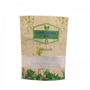 Fully biodegradable stand up packaging kraft paper bags with window and zipper