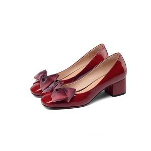 England Style Red Women Leather Shoes