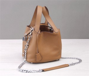 Custom Made Ladies Tan Leather Bags Mini Tote Bag With Long Shoulder Chain Strap