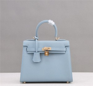 OEM Made Light Blue Geniune Leather Purses Women Purses Kelly Epsom