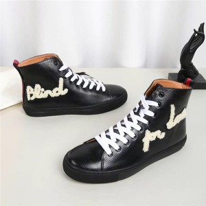 Red Cow Skin Upper Ankle Sneakers With Sheepskin Lining
