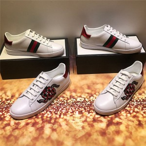 Most Popular Cow Leather No Brand Sneakers With Snake Embroidery