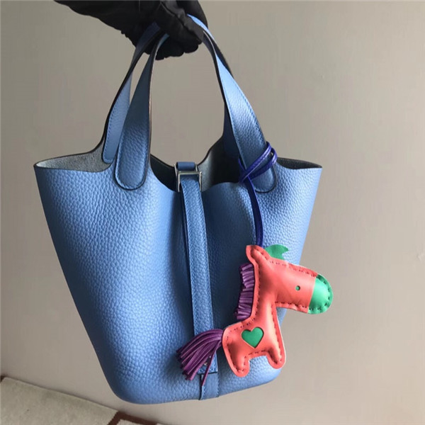 High Quality Light Blue Litchi Cowhide Leather Hand Bags Featured Image