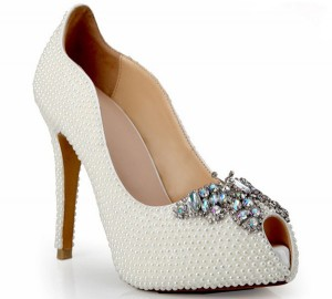 Customizing 12cm Sexy Pumps Women With White Rhinestone