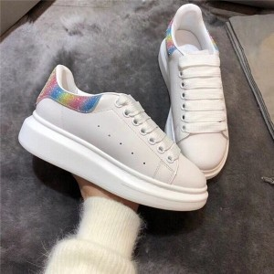 High Quality White Cow Hide Thick-Soled Lovers Sneakers Shoes With Colorful Sequins Back Heel