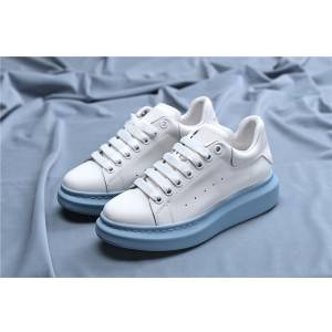 Women Light Blue Outsole Branded Leather Shoes