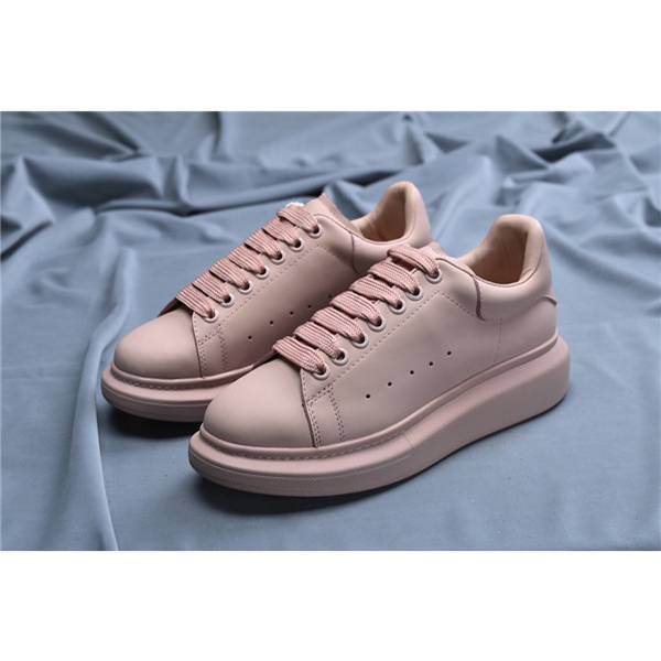 Women Pink cowhide Leather Shoes Sneakers With Pink Outsole Featured Image