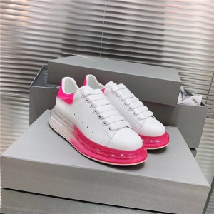 Most Popular Cow Skin Sneakers for Both Women And Men with Pink Transparent Sole  size 35 to 46