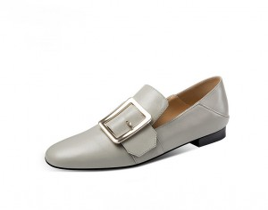 Grey Cow Hide Pointed Pointed Formal Shoes For Women