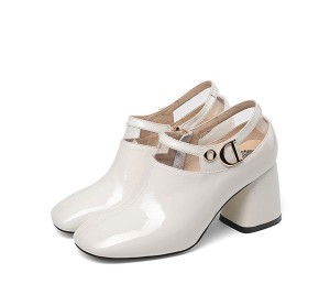 White Patent Leather Women Big Heel Dress Shoes...