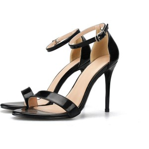 Black Patent Leather Sandals With Ankle Strap