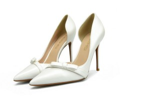 Ladies Stiletto White Microfiber Shoes