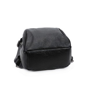 High Quality Fashion Student School Backpacks Black Cowhide