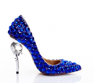 Royal Blue Rhinestone 12cm Hippocampus Heel Shoes Pumps