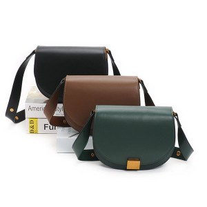 Famous Brand Long Strap Single Shoulder Bags For Lady Small Flip Cover Semicircle Bags