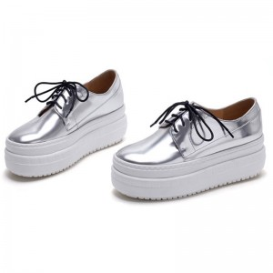 Women Silver Leather Thick-Soled Shoes With White Bottom Sole