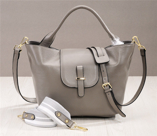 Western Style Grey Soft Leather Ladies Bag Hand Bags Women Featured Image