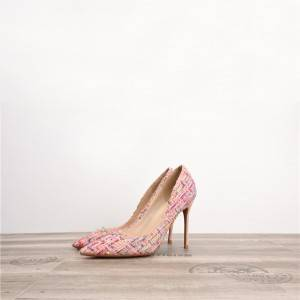Pink Wool Woven Cloth Pointed Stiletto Designer Shoes