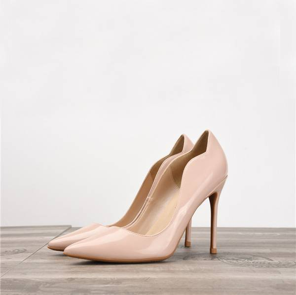 Nude Patent Leather Pointed Stiletto Sexy Pumps Shoes Featured Image