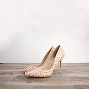 Amazon Best Selling Nude Rivet Heels Pumps Women