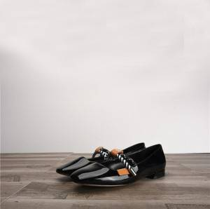 Women Black Patent Leather Shoes Flats