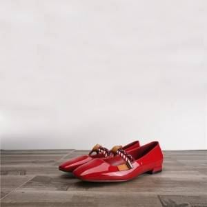 Red Patent Leather Shoes Ladies Flat Shoes