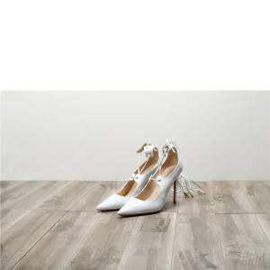 Drop-ship In Store White Patent Leather women Fine Heel Shoes