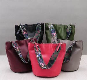 High Quality Ladies Soft Leather Bucket Bag Wit...