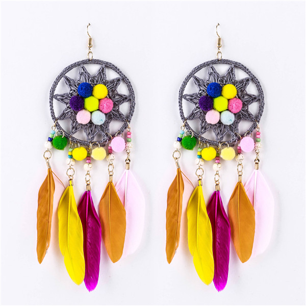Wholesale Feather Earrings Hairball Earrings Women Fashion Ladies Braid Knitting Earrings Featured Image