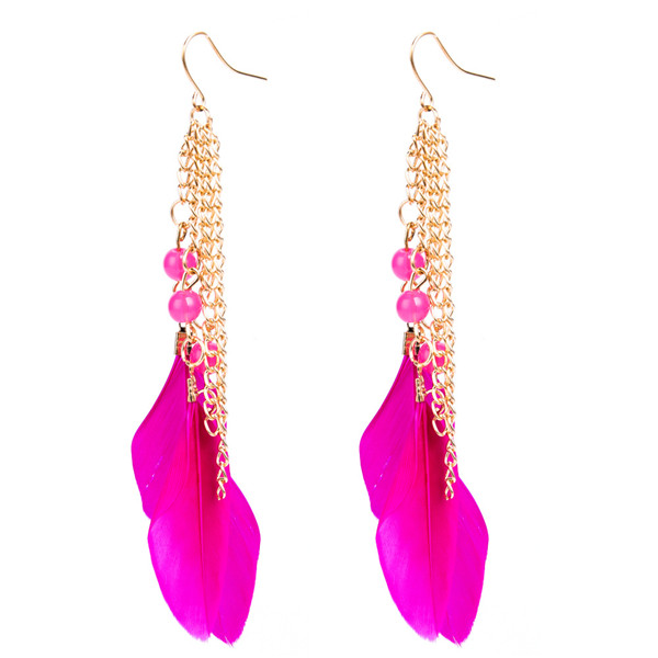 Wholesale Europe And The United States Brand Earrings Women Pink Feather Earrings Featured Image