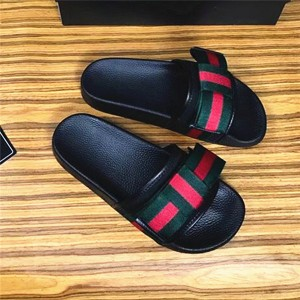 Custom Made Beach Slippers Black Men Flat Outdoor Slippers