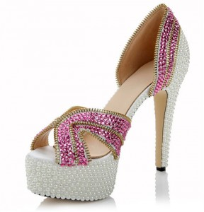 High Quality Sheepskin Inner 14cm High Heel White Crystal Shoes With Pink Rhinestone