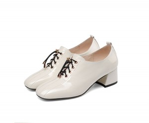 Newest Style White Patent Leather Square Toe Shoes Ladies