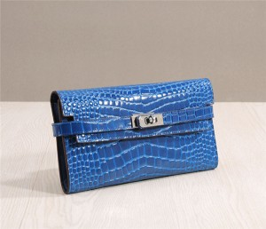 Blue Crocodile Buckle Wallets Women High Qualit...