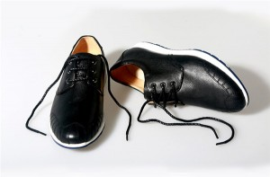 Black Cowhide Sneakers For Men