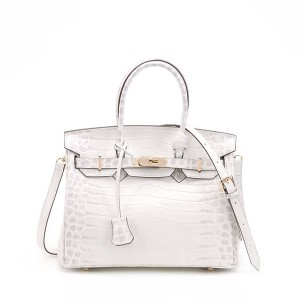White Crocodile Grain Cowhide Lady Handbags Fashion Designer Bags With Shoulder Strap
