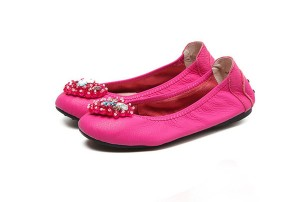 Pink Calfskin Famous Designer Shoes Lady Foldable Flat Shoes