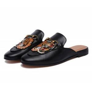 European Trendy Leather Loafers Half Slippers Embroidery Buckle Shoes 35 To 46 Big Size