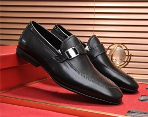 Black Cowhide Leather Designer Shoes Men Lace-U...