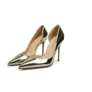 Silver Patent Leather High Heel Pump Shoes