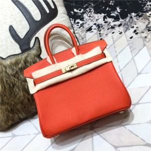 High Quality Orange Togo Leather Famous Brand W...