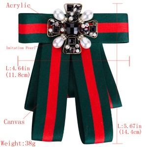 Women Red-Green Multi-Layer Canvas Corsage Colorful Diamond-Studded Brooch Students Corsage Bohemian Style Corsage