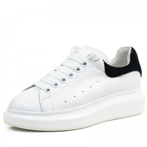 White Genuine Leather Lace Up Sneakers For Couples